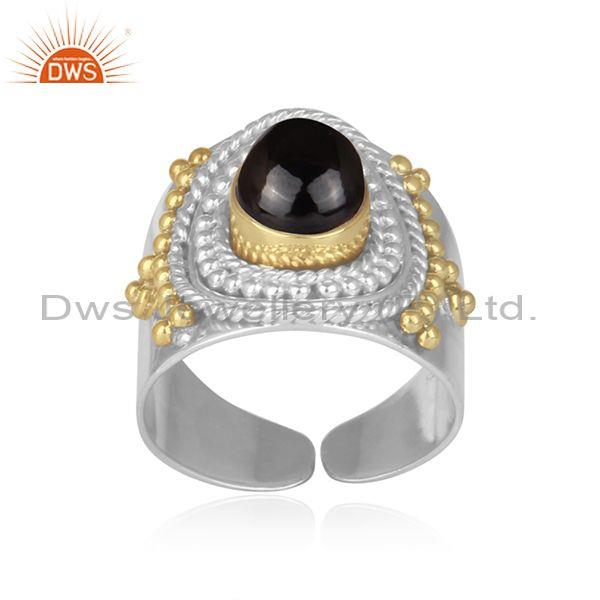 Black spinal set 925 sterling silver handmade detailed ring