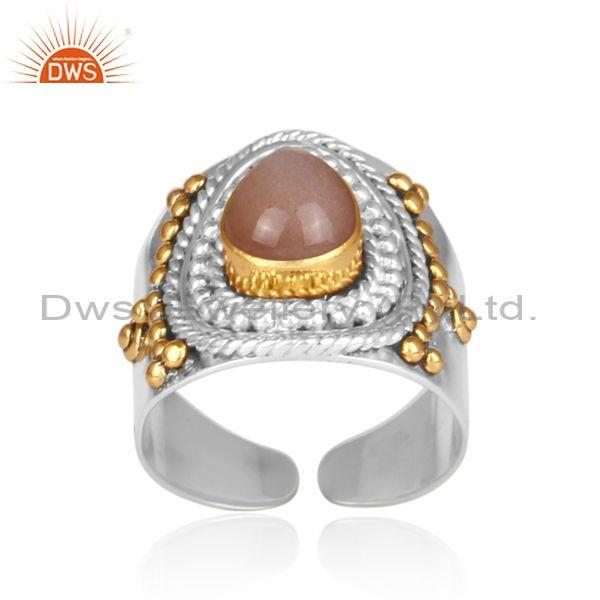 Peach moonstone set fine sterling silver traditional ring