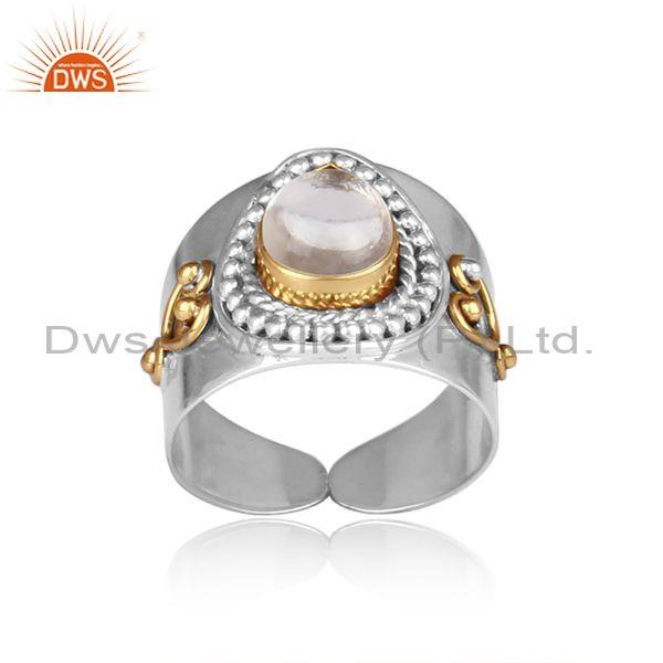 Crystal quartz set fine 925 silver handmade traditional ring