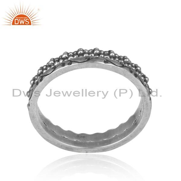 Handmade oxidized silver designer statement band type ring