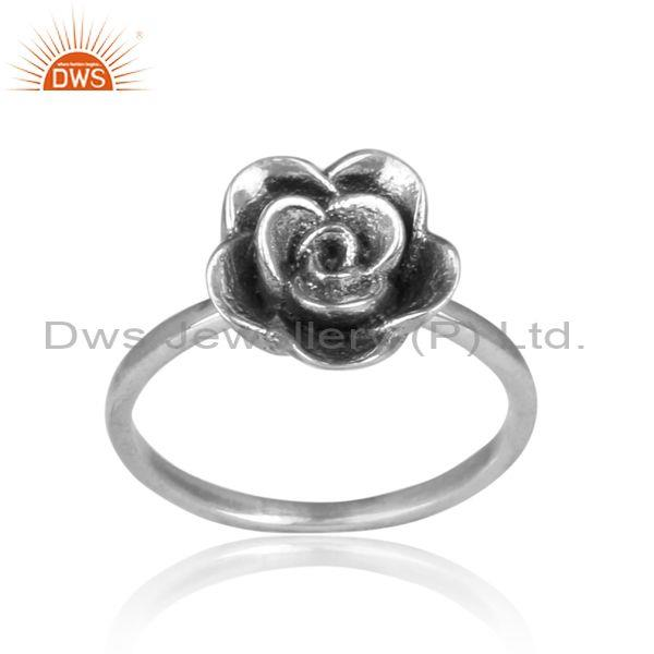 Rose crown set handmade oxidized 925 silver statement ring