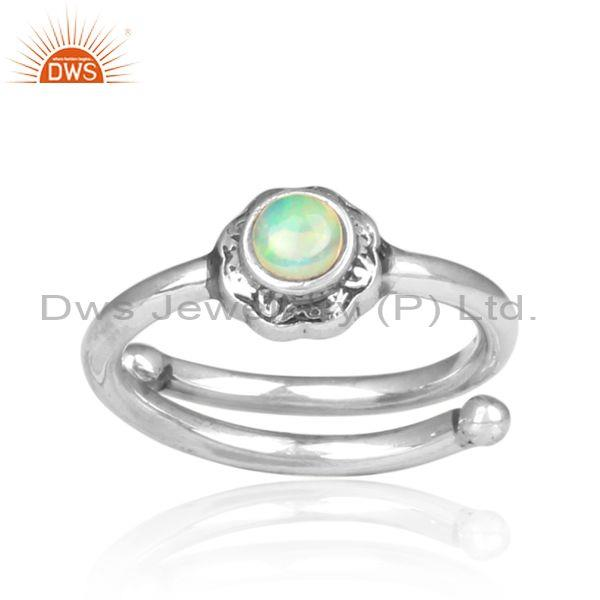 Ethiopian Opal Set Oxidized Sterling Silver Handmade Ring