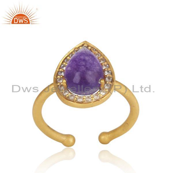 Amethyst AventurineAdjustable Set Gold On Silver Ring