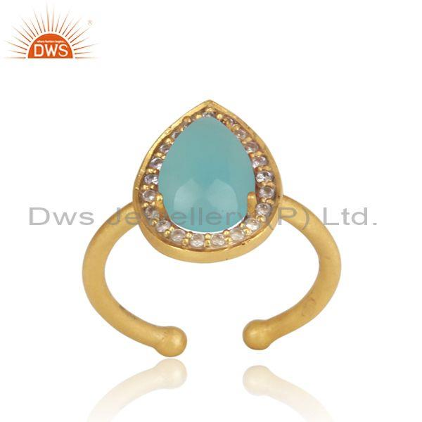 Pear Shaped Aqua Chalcedony And CZ Set Gold On Silver Ring