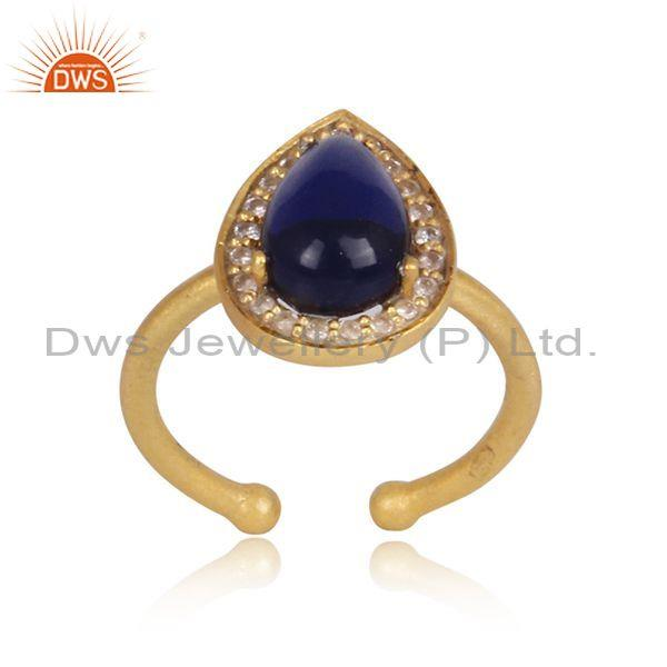 Pear Cut Corundum Blue CZ Gold On Silver Adjustable Ring