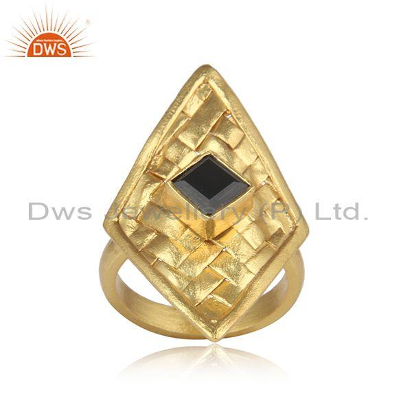 Gold on silver woven hand turned rhombus set black onyx ring
