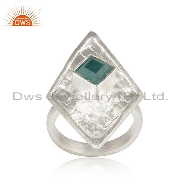 Silver Woven Hand Turned Rhombus Set Green Onyx Ring