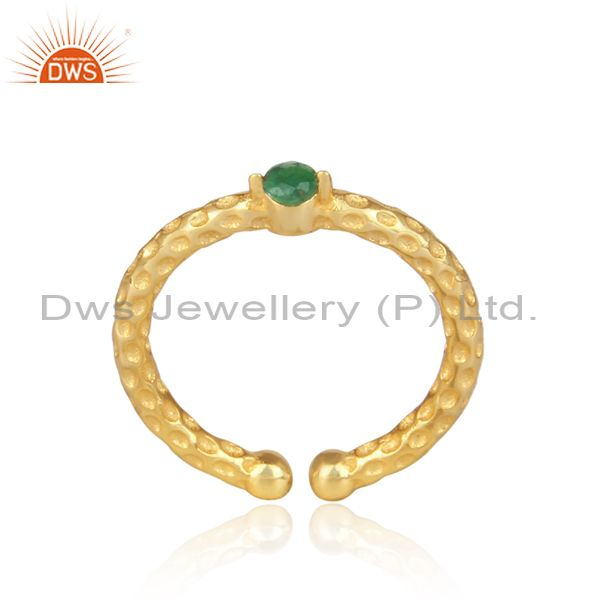 Emerald Set Gold On 925 Silver Hand Hammered Textured Ring