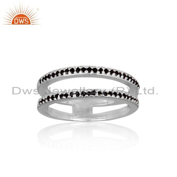 Black spinal set fine 925 sterling silver double band ring