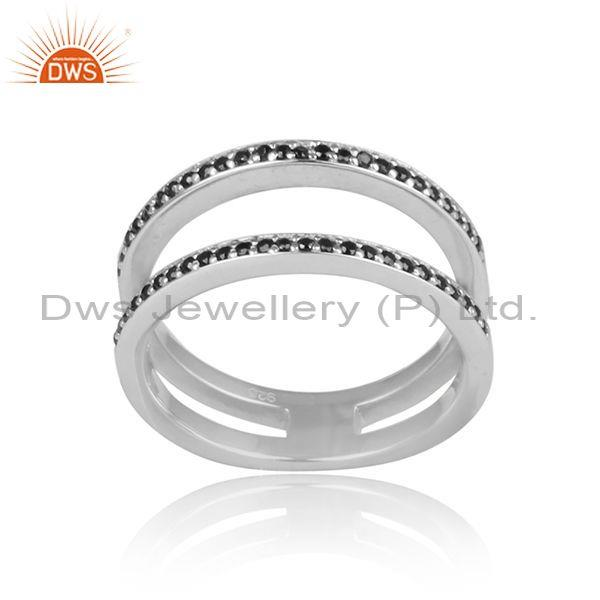 Black spinal set white rhodium on 925 silver connected ring