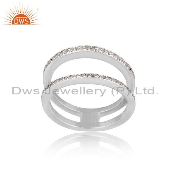 White topaz set white rhodium on 925 silver double ring