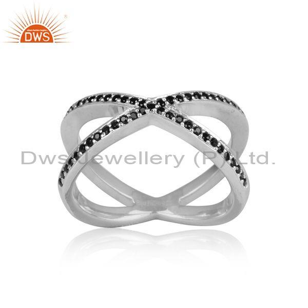 Black spinal set white rhodium on 925 silver statement ring