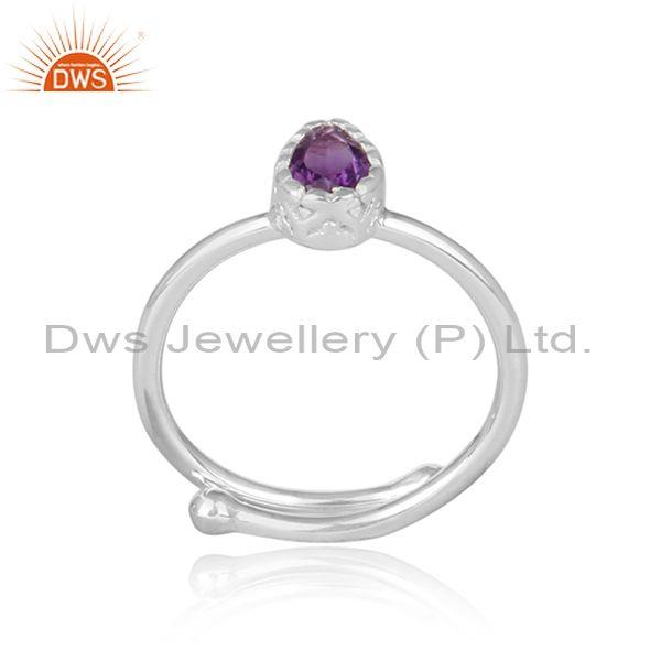 Amethyst Set Fine 925 Sterling Silver Statement Crown Ring