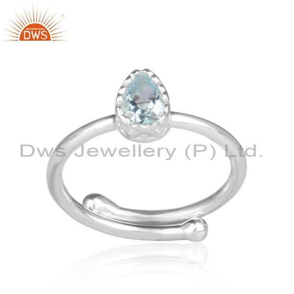 Tear Drop Blue Topaz Set Fine Sterling Silver Statement Ring