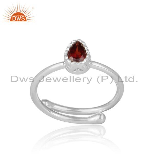 Tear Drop Cut Garnet Set Fine 925 Sterling Silver Crown Ring