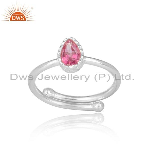 Tear drop pink topaz set fine 925 sterling silver crown ring