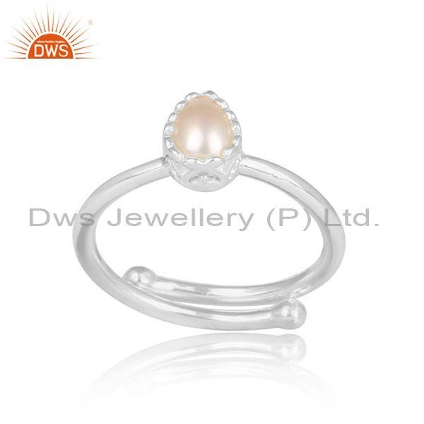 pearl set fine 925 silver tear drop shaped statement ring