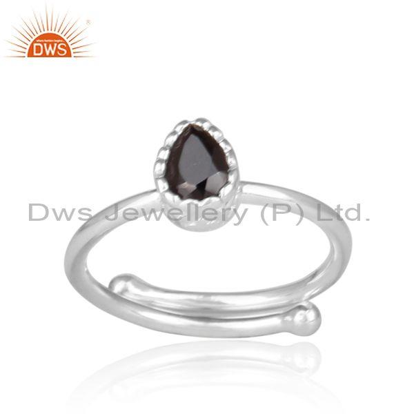 Tear drop shaped black spinal set fine sterling silver ring