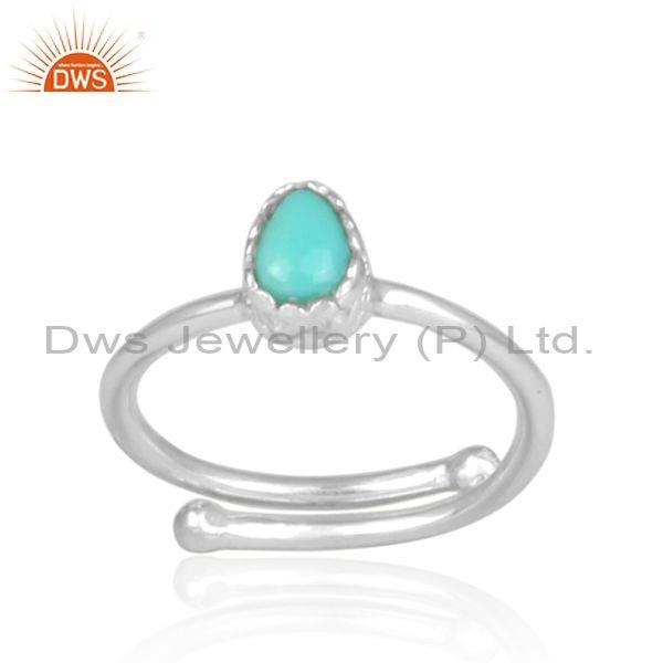 Arizona turquoise set fine 925 silver tear drop shaped ring