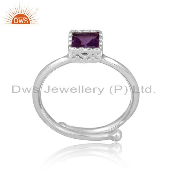 Square cut amethyst set fine 925 sterling silver crown ring