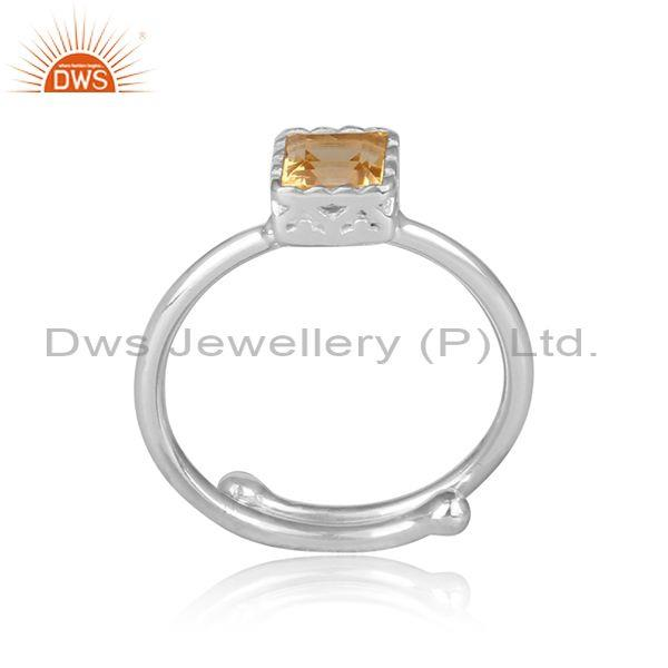 Square cut citrine set fine 925 sterling silver crown ring