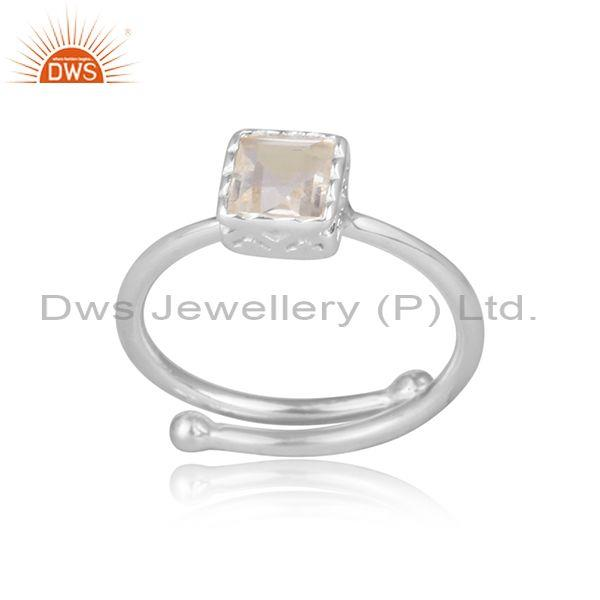 Square cut crystal quartz set fine 925 silver crown ring