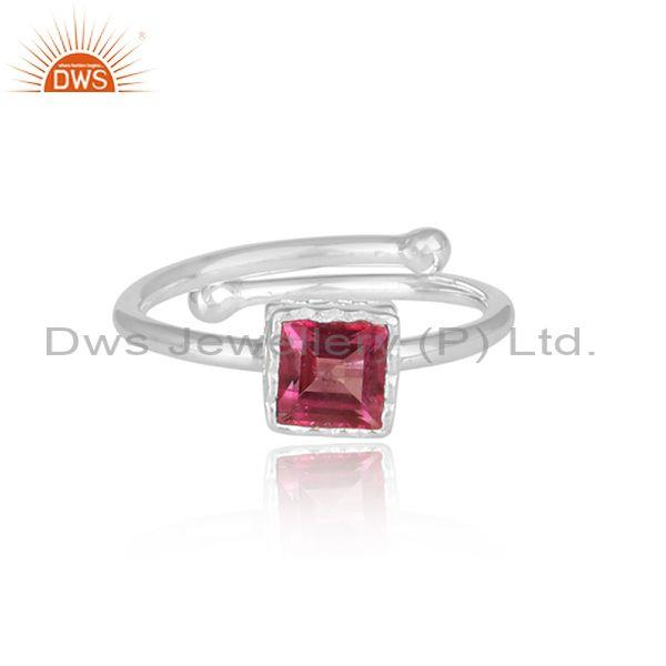 Square cut pink topaz set fine silver statement crown ring