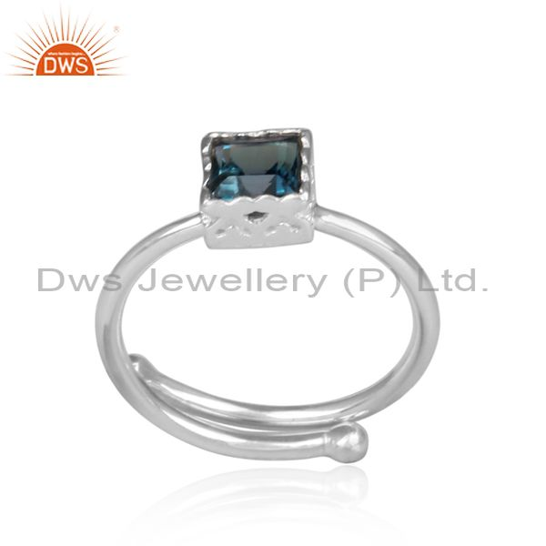 Square cut london blue topaz set fine 925 silver crown ring