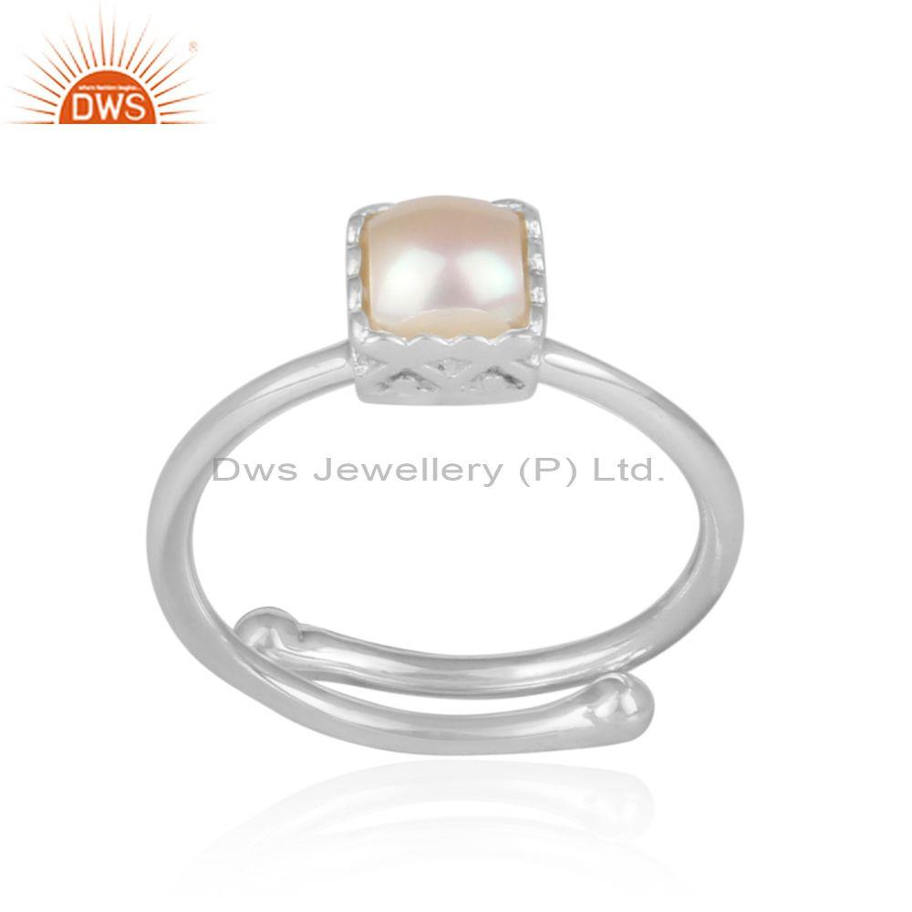 Pearl Set Set Fine Sterling Silver Square Shape Crown Ring