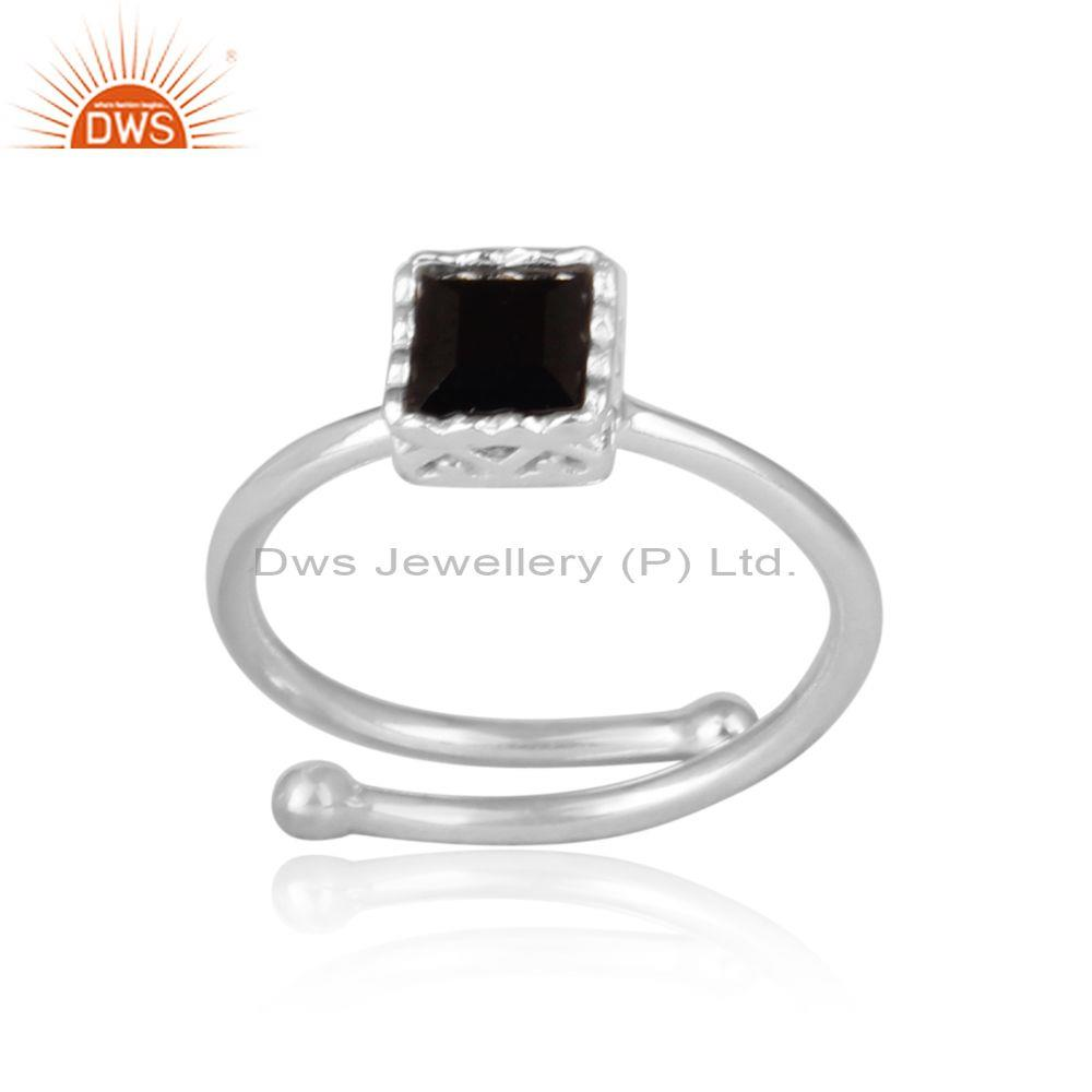 Square cut black spinal set fine sterling silver crown ring