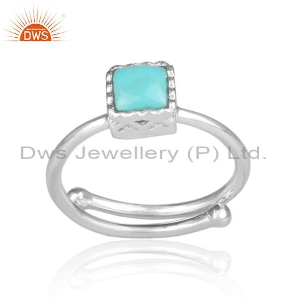Square Cut Arizona Turquoise Set Fine 925 Silver Crown Ring