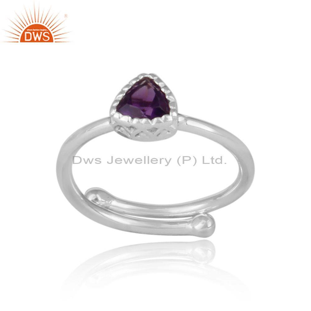 Triangle cut amethyst set fine sterling silver crown ring