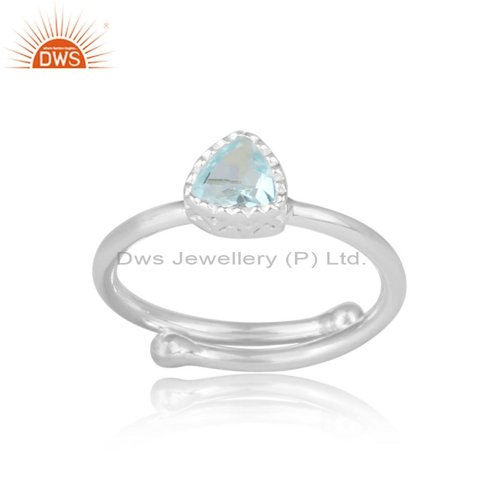 Triangle Cut Blue Topaz Set Fine Sterling Silver Crown Ring