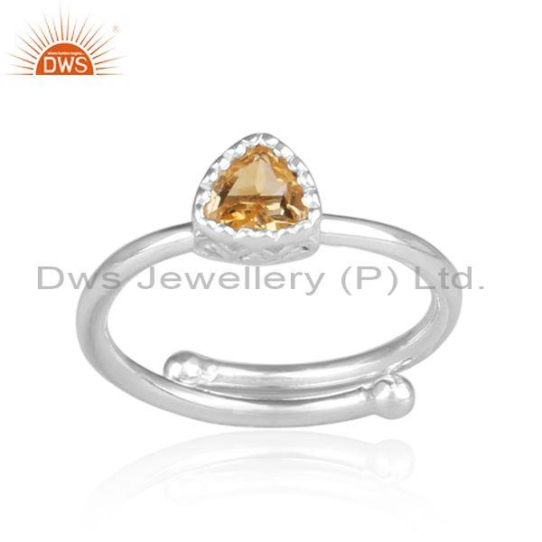 Triangle Cut Citrine Set Fine 925 Sterling Silver Crown Ring