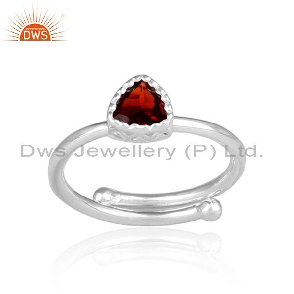 Triangle cut garnet set fine 925 sterling silver crown ring
