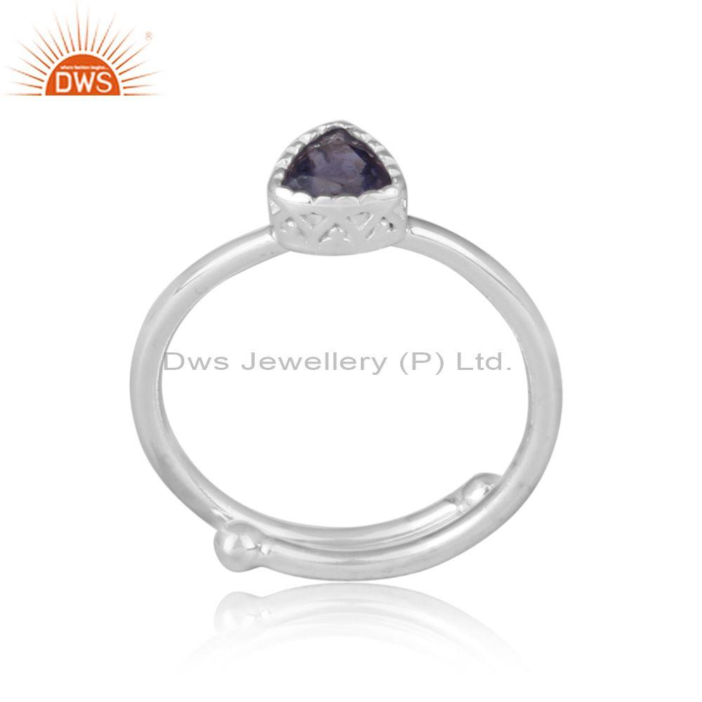 Triangle cut iolite set fine 925 sterling silver crown ring