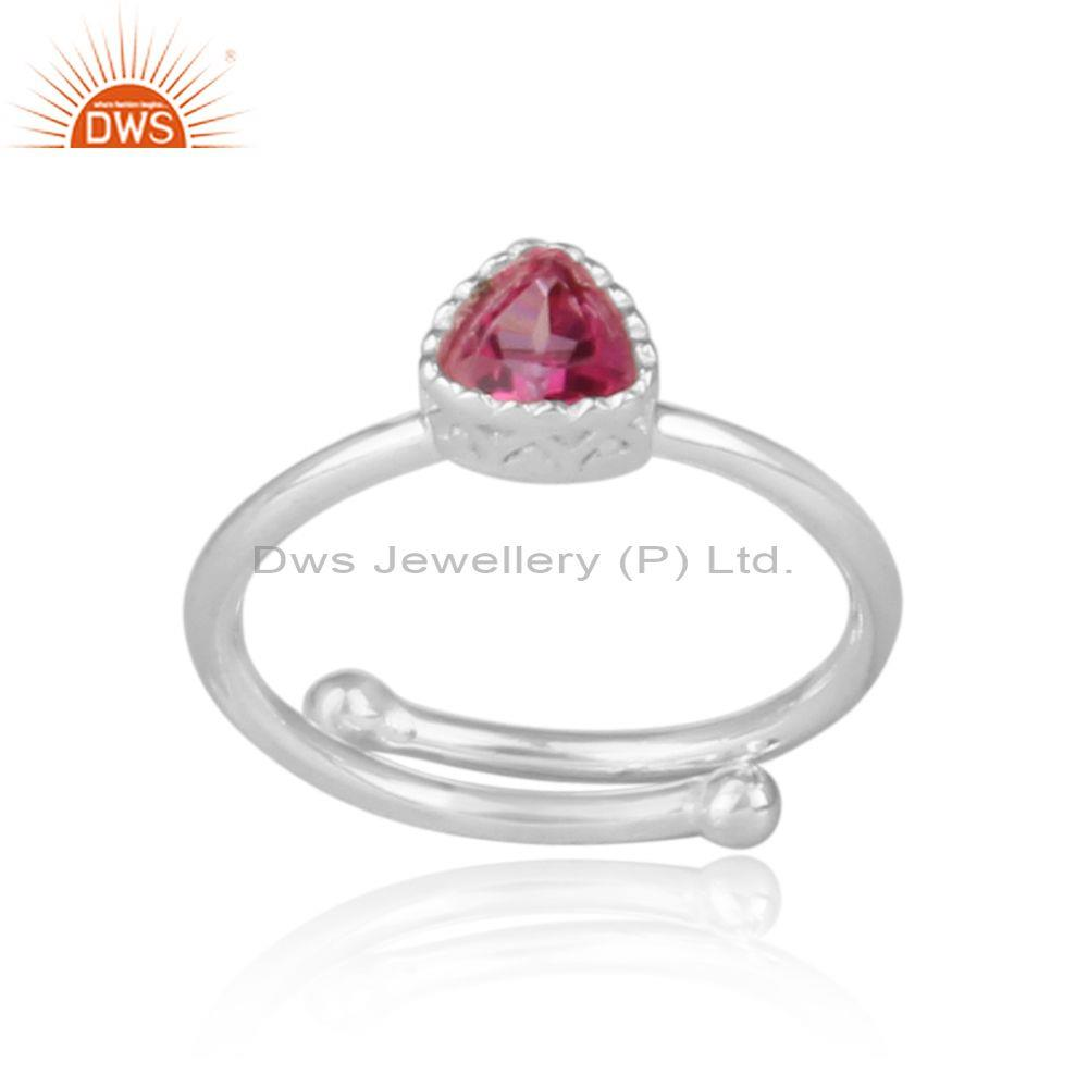 Triangle cut pink topaz set fine sterling silver crown ring