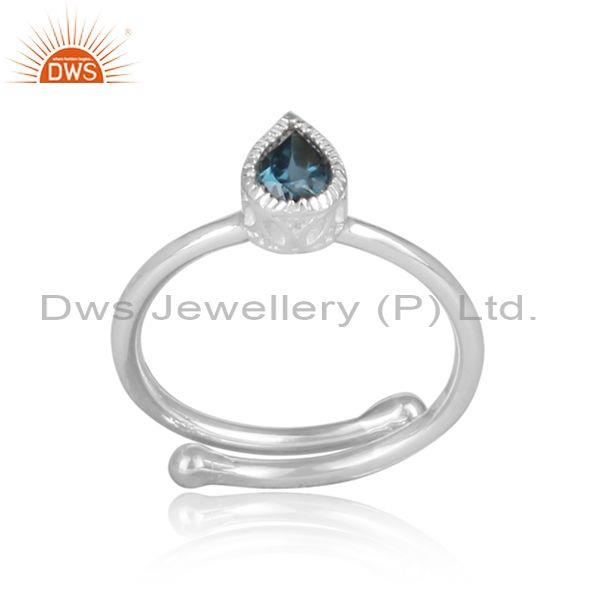 Tear drop london blue topaz set fine 925 silver crown ring