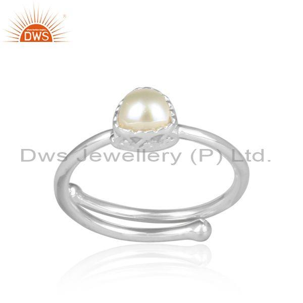 Pearl set handmade fine silver triangle shaped designer ring