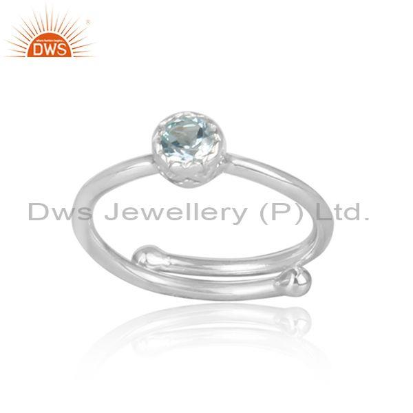 Round Cut Blue Topaz Set Fine 925 Sterling Silver Crown Ring