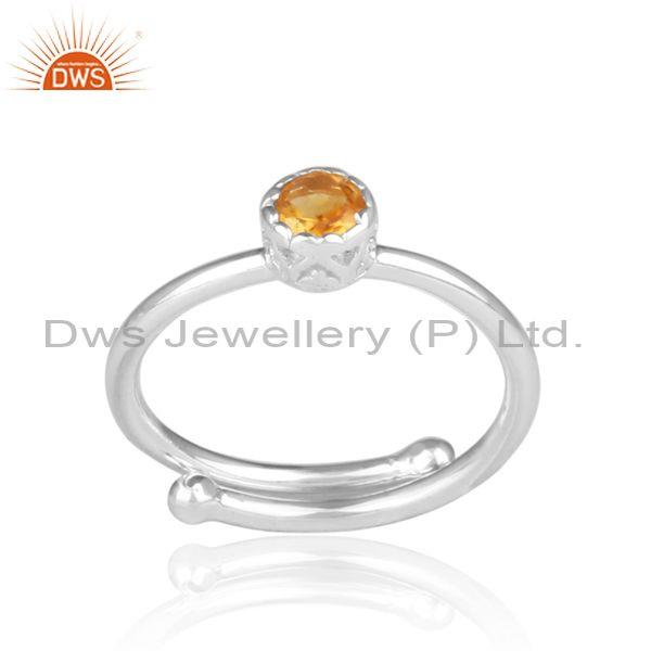 Round cut citrine set fine 925 sterling silver crown ring