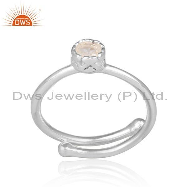 Round cut crystal quartz set fine sterling silver crown ring