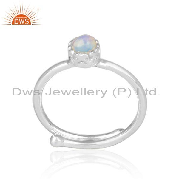 Round Cut Ethiopian Opal Set Fine Sterling Silver Crown Ring