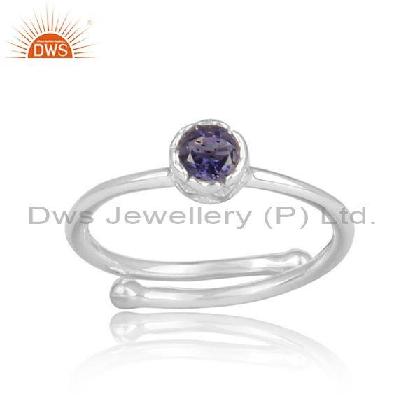 Round cut iolite set fine 925 silver designer crown ring
