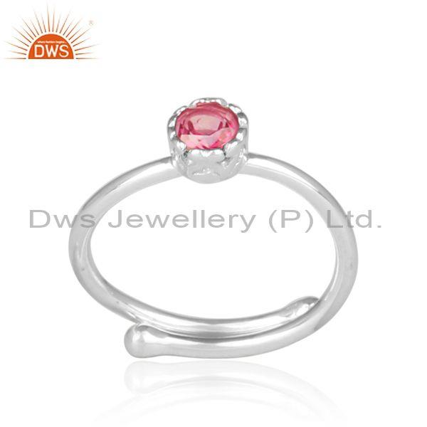 Round cut pink topaz set fine 925 sterling silver crown ring