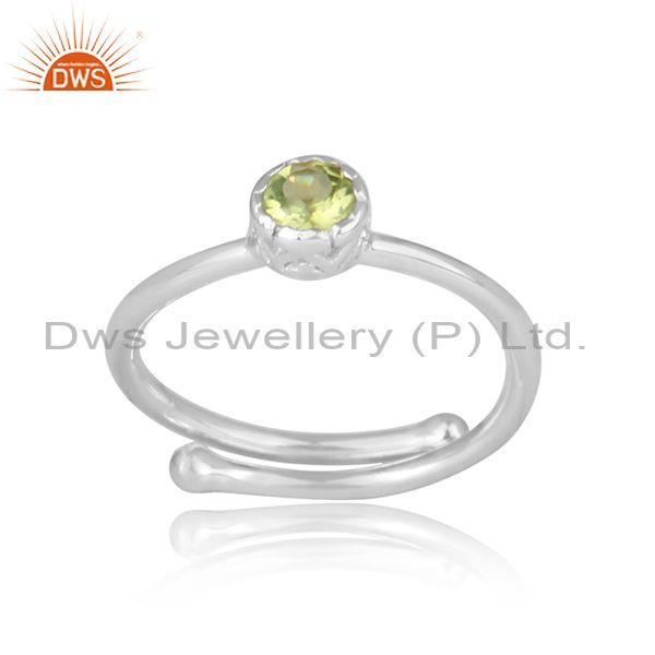Round Cut Peridot Set Fine 925 Sterling Silver Crown Ring