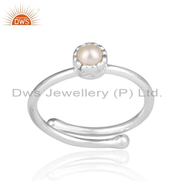 Pearl Set Fine 925 Sterling Silver Round Shaped Crown Ring
