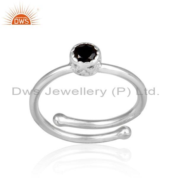 Round cut black spinal set fine silver designer crown ring