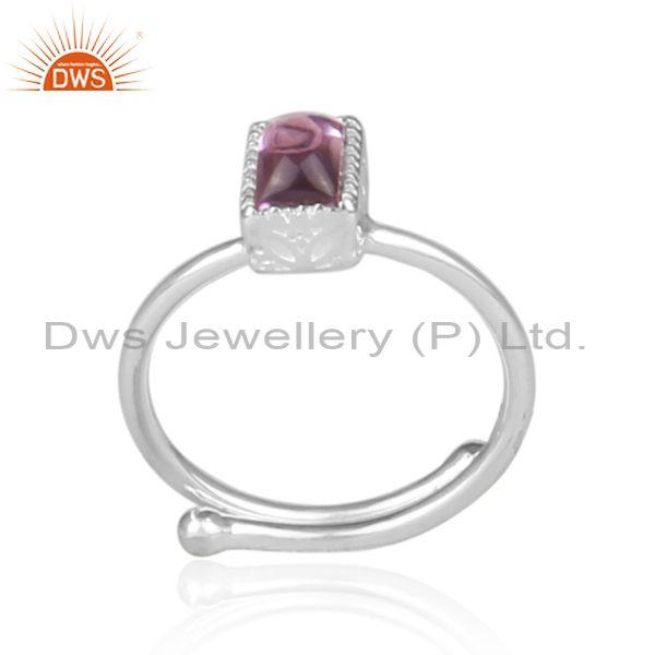 Rectangular Cut Amethyst Set Fine Sterling Silver Crown Ring