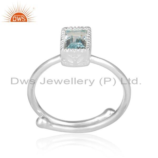 Rectangular Cut Blue Topaz Set Fine 925 Silver Crown Ring